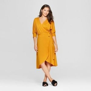 Women's Knit Wrap Midi Dress - A New Day Yellow